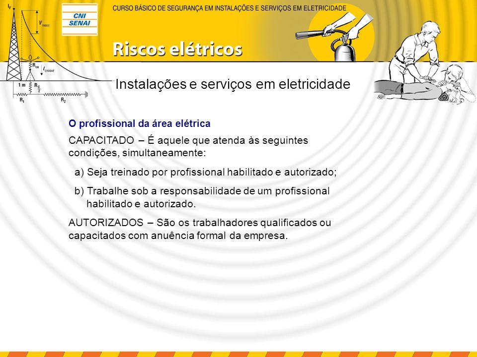 CAPACITADO – É aquele que atenda às seguintes condições, simultaneamente: a) Seja treinado por profissional habilitado e autorizado; b) Trabalhe sob a