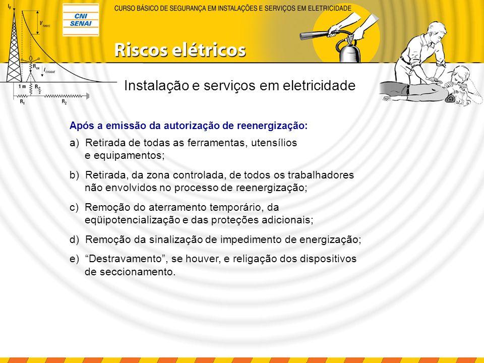 Instalação e serviços em eletricidade a) Retirada de todas as ferramentas, utensílios e equipamentos; b) Retirada, da zona controlada, de todos os tra