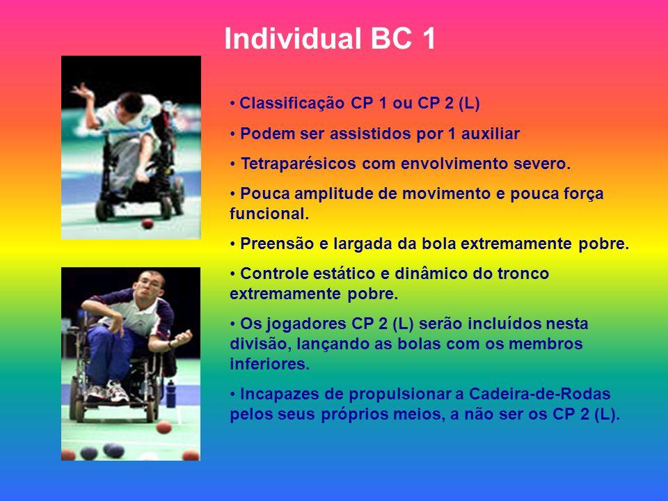 Individual BC 1 Classificação CP 1 ou CP 2 (L) Podem ser assistidos por 1 auxiliar Tetraparésicos com envolvimento severo. Pouca amplitude de moviment