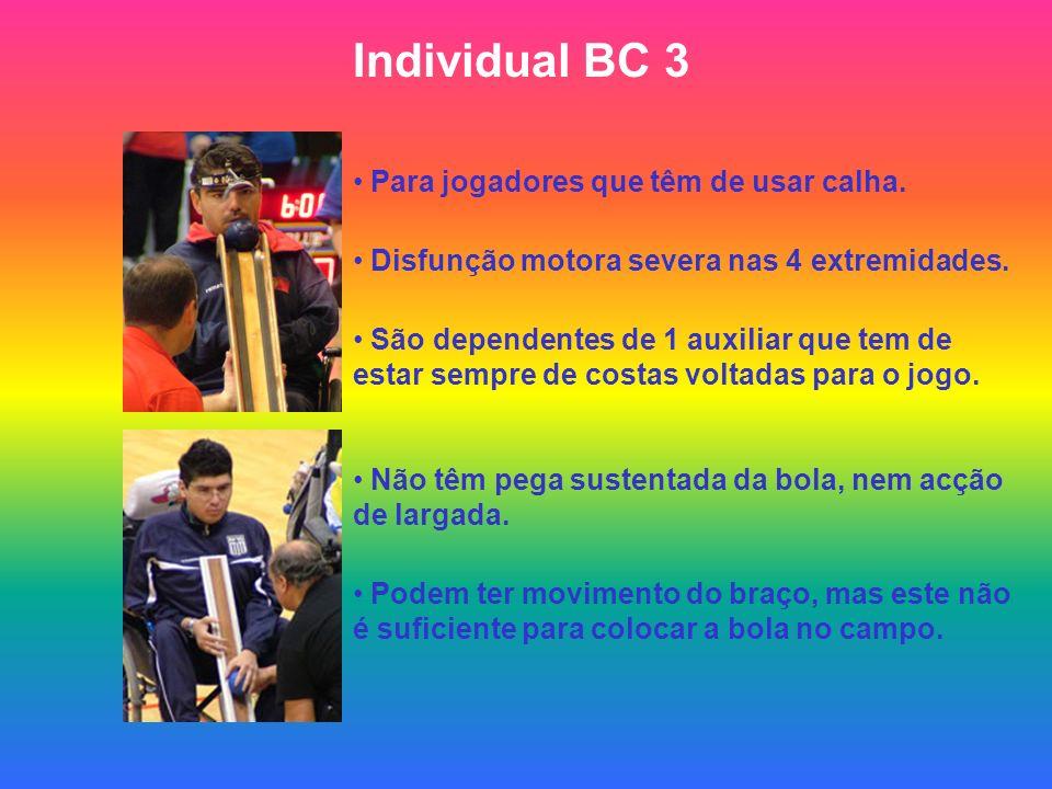Individual BC 3 Para jogadores que têm de usar calha. Disfunção motora severa nas 4 extremidades. São dependentes de 1 auxiliar que tem de estar sempr