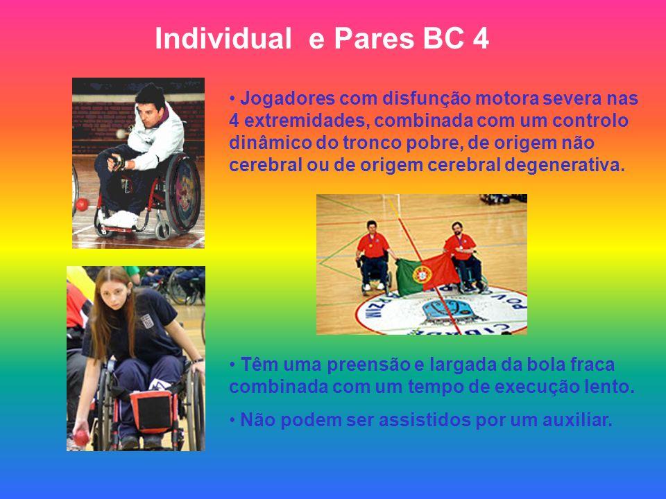 Individual e Pares BC 4 Jogadores com disfunção motora severa nas 4 extremidades, combinada com um controlo dinâmico do tronco pobre, de origem não cerebral ou de origem cerebral degenerativa.