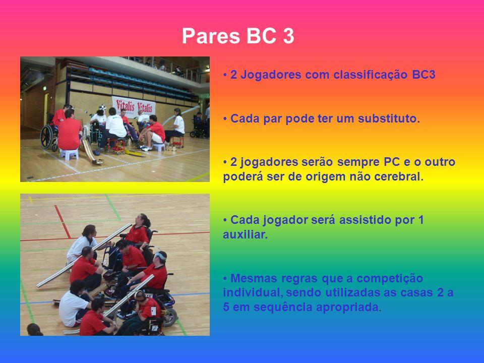Pares BC 3 2 Jogadores com classificação BC3 Cada par pode ter um substituto. 2 jogadores serão sempre PC e o outro poderá ser de origem não cerebral.