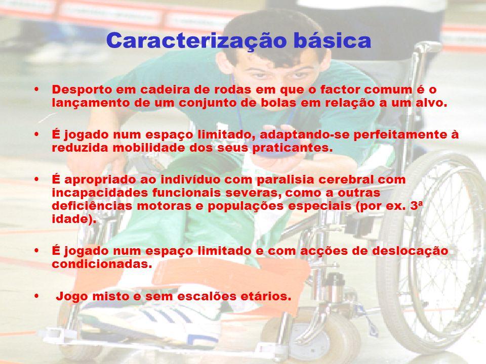 Caracterização básica Desporto em cadeira de rodas em que o factor comum é o lançamento de um conjunto de bolas em relação a um alvo. É jogado num esp