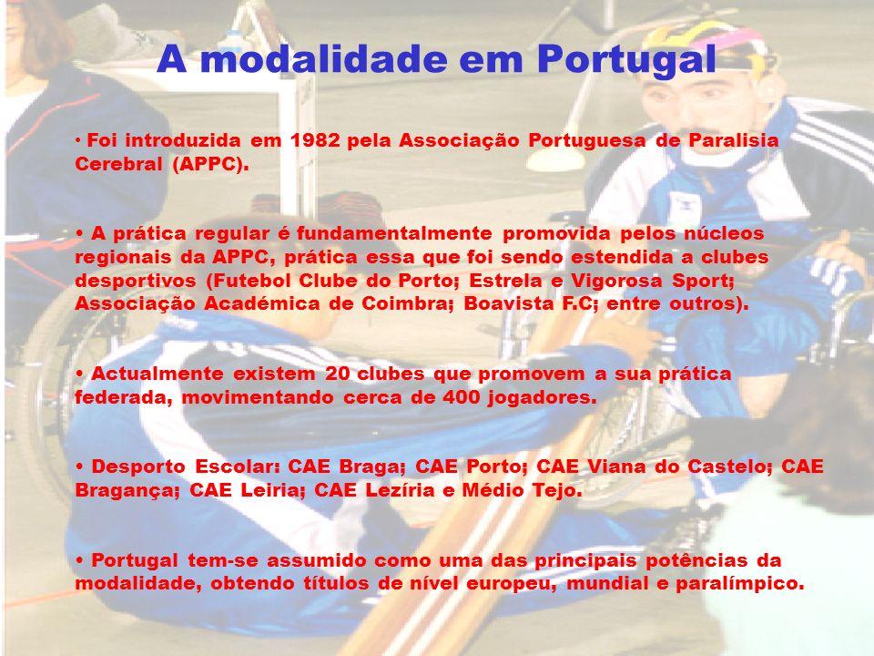 A modalidade em Portugal Foi introduzida em 1982 pela Associação Portuguesa de Paralisia Cerebral (APPC). A prática regular é fundamentalmente promovi