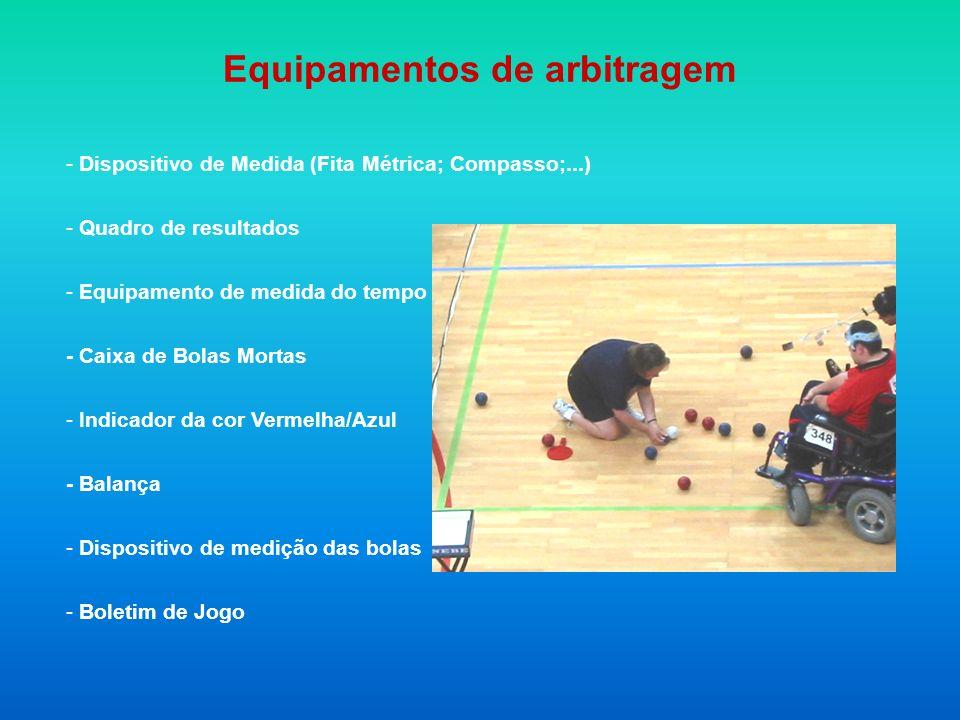 Equipamentos de arbitragem - Dispositivo de Medida (Fita Métrica; Compasso;...) - Quadro de resultados - Equipamento de medida do tempo - Caixa de Bolas Mortas - Indicador da cor Vermelha/Azul - Balança - Dispositivo de medição das bolas - Boletim de Jogo