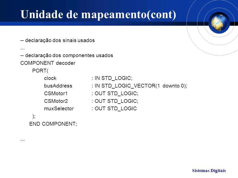 Sistemas Digitais Unidade de mapeamento(cont) -- declaração dos sinais usados... -- declaração dos componentes usados COMPONENT decoder PORT( clock: I
