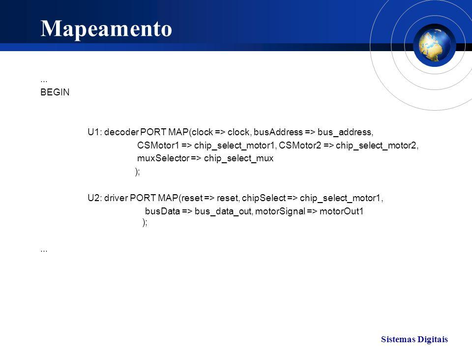 Sistemas Digitais Mapeamento... BEGIN U1: decoder PORT MAP(clock => clock, busAddress => bus_address, CSMotor1 => chip_select_motor1, CSMotor2 => chip