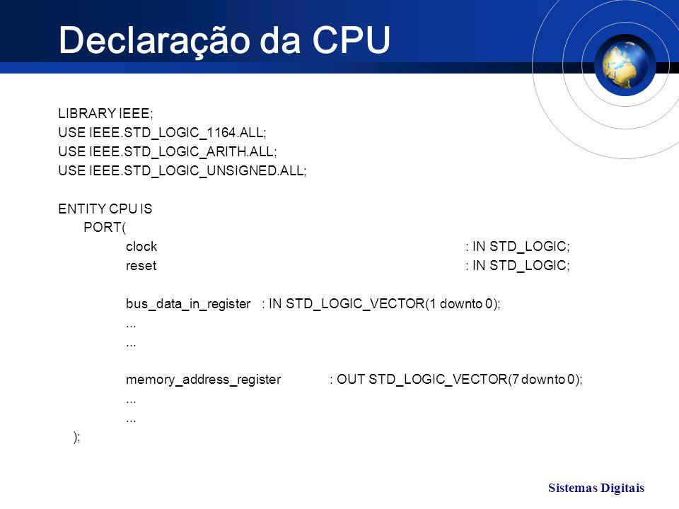Sistemas Digitais Declaração da CPU LIBRARY IEEE; USE IEEE.STD_LOGIC_1164.ALL; USE IEEE.STD_LOGIC_ARITH.ALL; USE IEEE.STD_LOGIC_UNSIGNED.ALL; ENTITY C