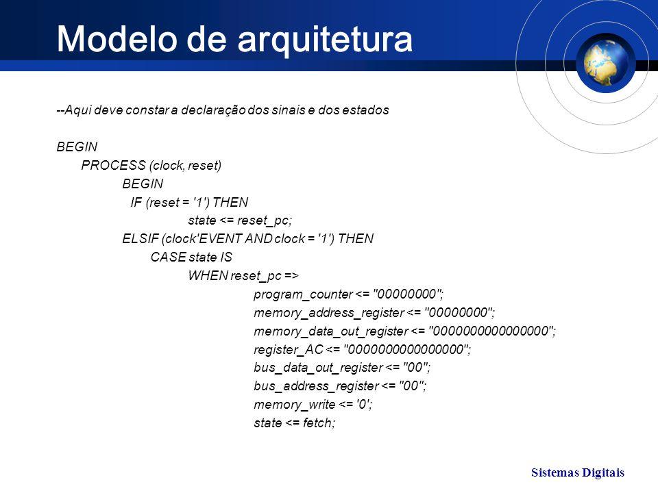 Sistemas Digitais Modelo de arquitetura --Aqui deve constar a declaração dos sinais e dos estados BEGIN PROCESS (clock, reset) BEGIN IF (reset = '1')