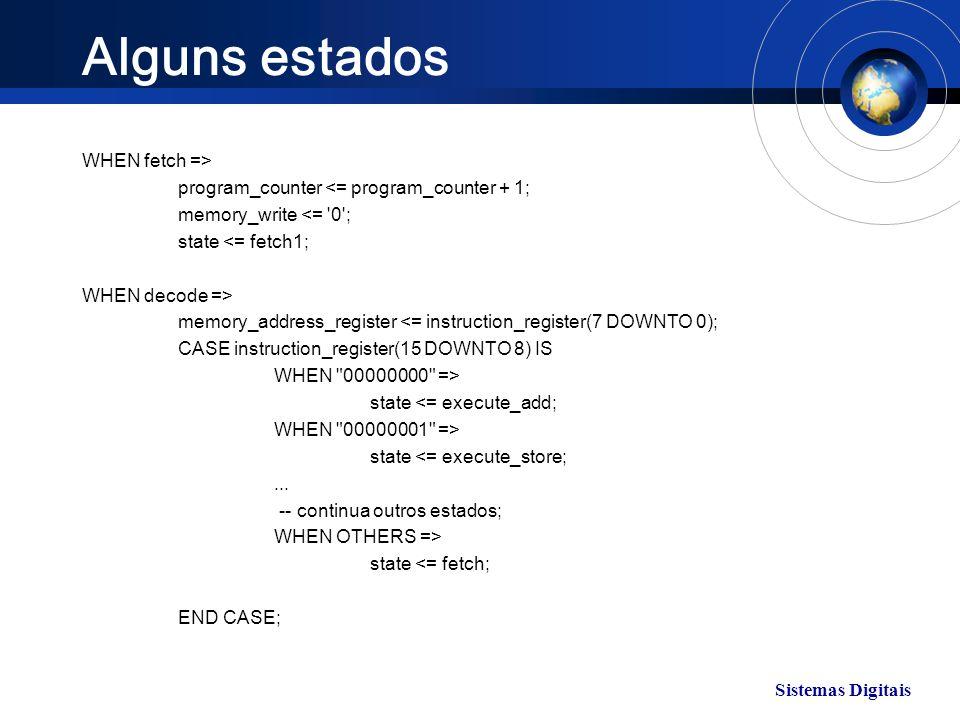Sistemas Digitais Alguns estados WHEN fetch => program_counter <= program_counter + 1; memory_write <= '0'; state <= fetch1; WHEN decode => memory_add