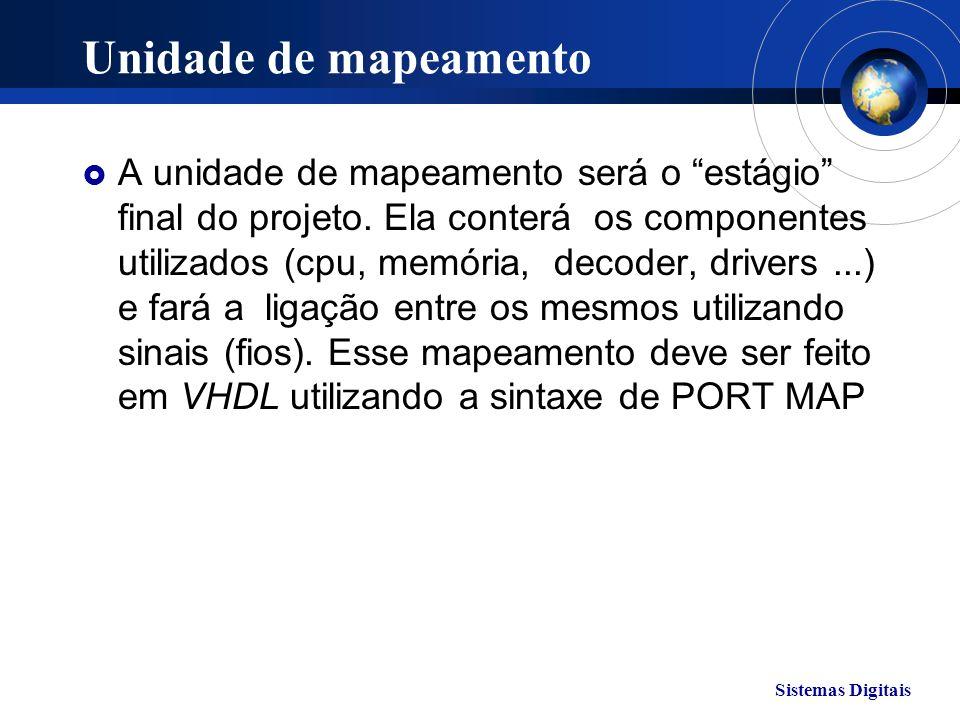 Sistemas Digitais Unidade de mapeamento A unidade de mapeamento será o estágio final do projeto. Ela conterá os componentes utilizados (cpu, memória,