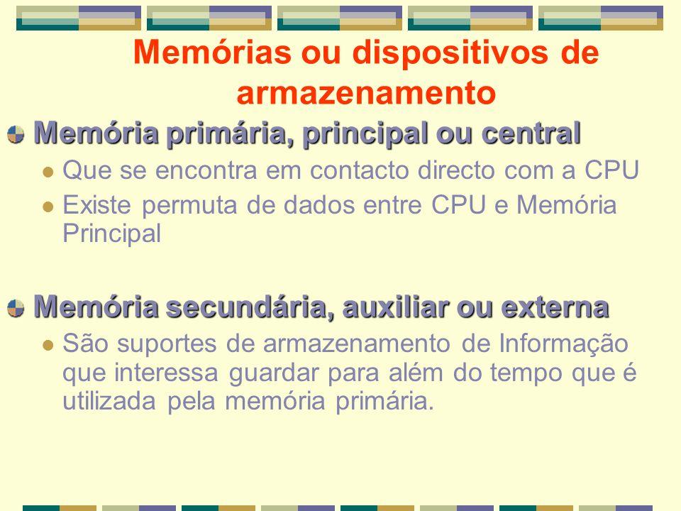 Memórias ou dispositivos de armazenamento Memória primária, principal ou central Que se encontra em contacto directo com a CPU Existe permuta de dados