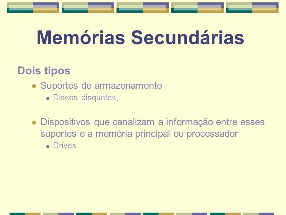 Memórias Secundárias Dois tipos Suportes de armazenamento Discos, disquetes,.... Dispositivos que canalizam a informação entre esses suportes e a memó