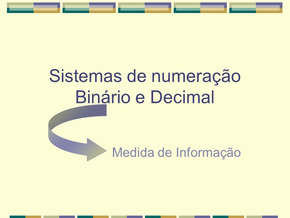Sistemas de numeração Binário e Decimal Medida de Informação