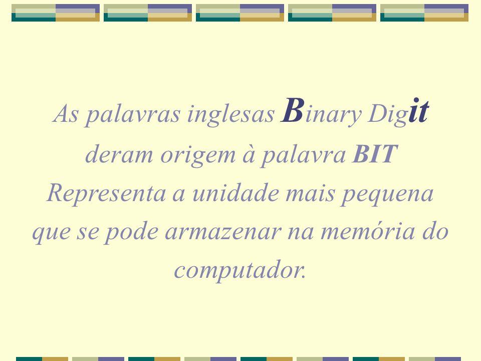 As palavras inglesas B inary Dig it deram origem à palavra BIT Representa a unidade mais pequena que se pode armazenar na memória do computador.