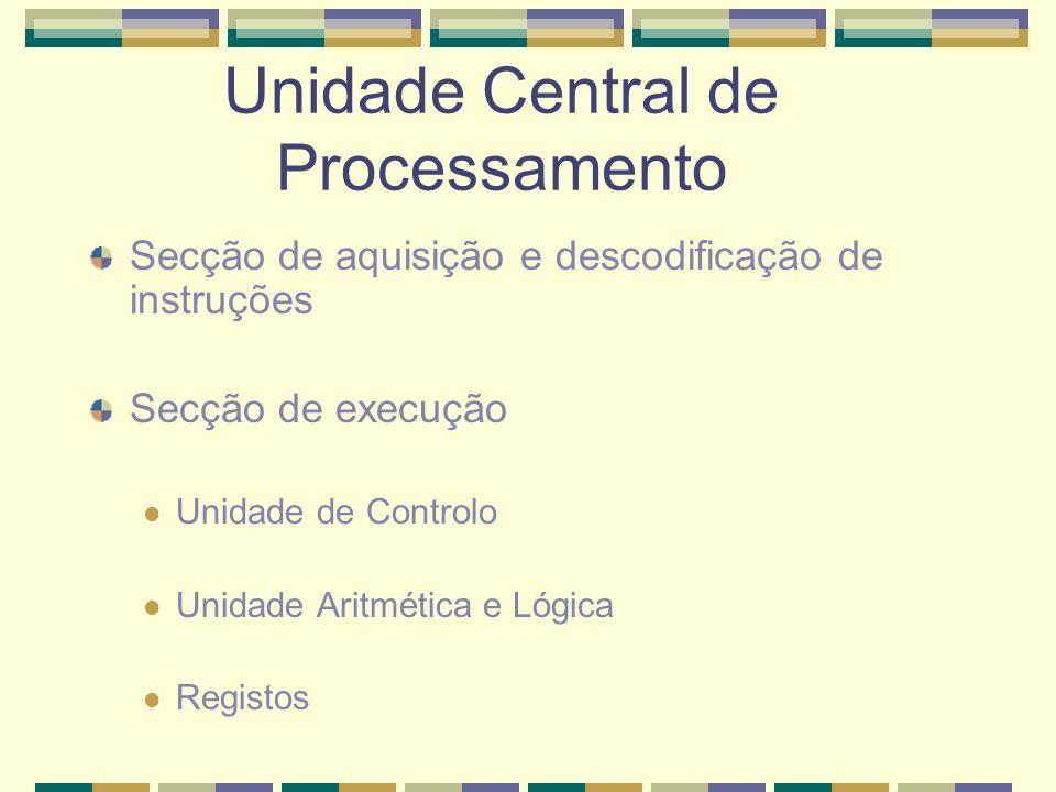 Unidade Central de Processamento Secção de aquisição e descodificação de instruções Secção de execução Unidade de Controlo Unidade Aritmética e Lógica