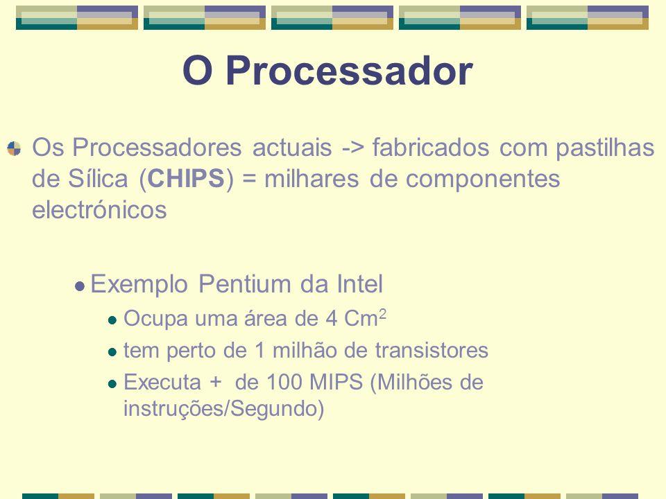 O Processador Os Processadores actuais -> fabricados com pastilhas de Sílica (CHIPS) = milhares de componentes electrónicos Exemplo Pentium da Intel O