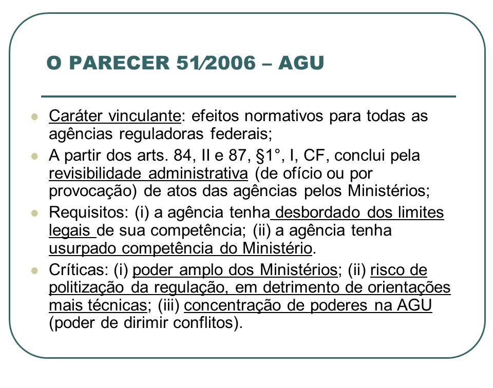 O PARECER 512006 – AGU Caráter vinculante: efeitos normativos para todas as agências reguladoras federais; A partir dos arts. 84, II e 87, §1°, I, CF,