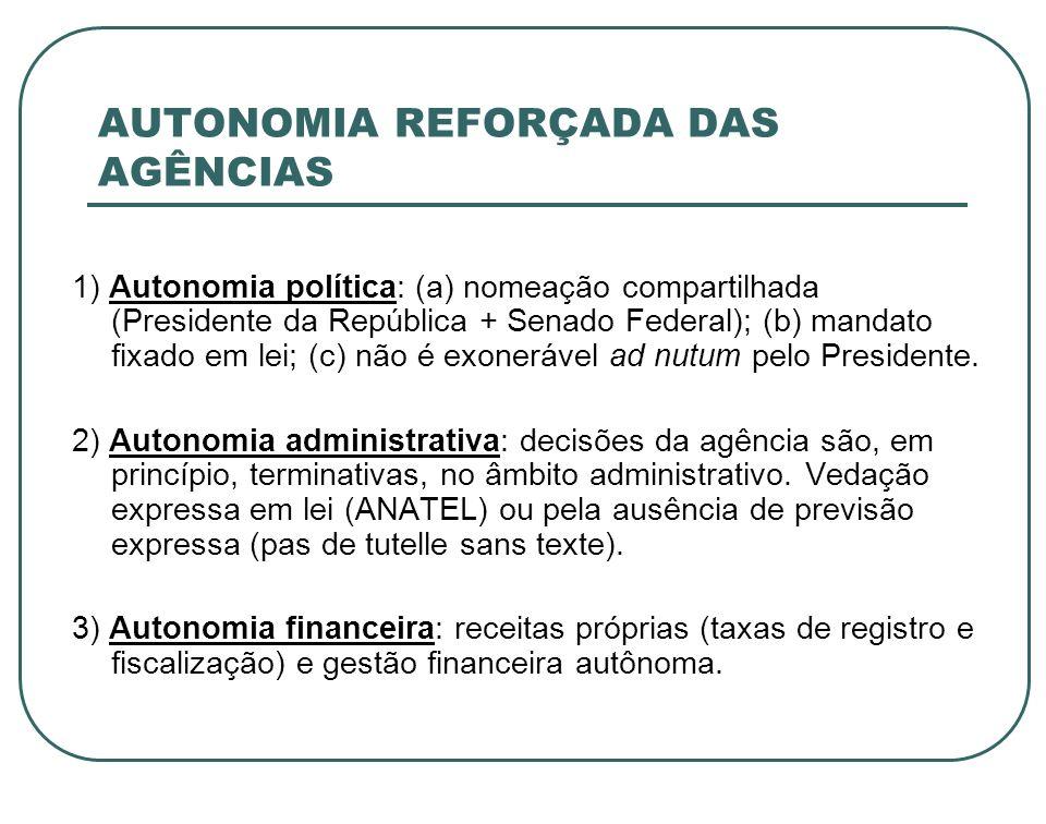 AUTONOMIA REFORÇADA DAS AGÊNCIAS 1) Autonomia política: (a) nomeação compartilhada (Presidente da República + Senado Federal); (b) mandato fixado em l