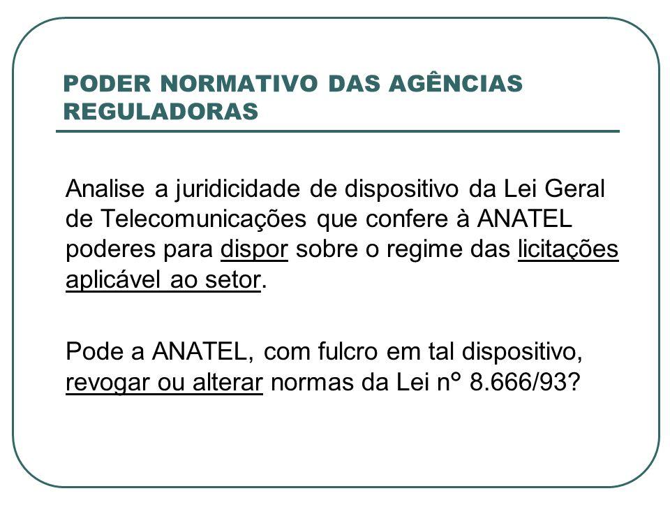 PODER NORMATIVO DAS AGÊNCIAS REGULADORAS Analise a juridicidade de dispositivo da Lei Geral de Telecomunicações que confere à ANATEL poderes para disp