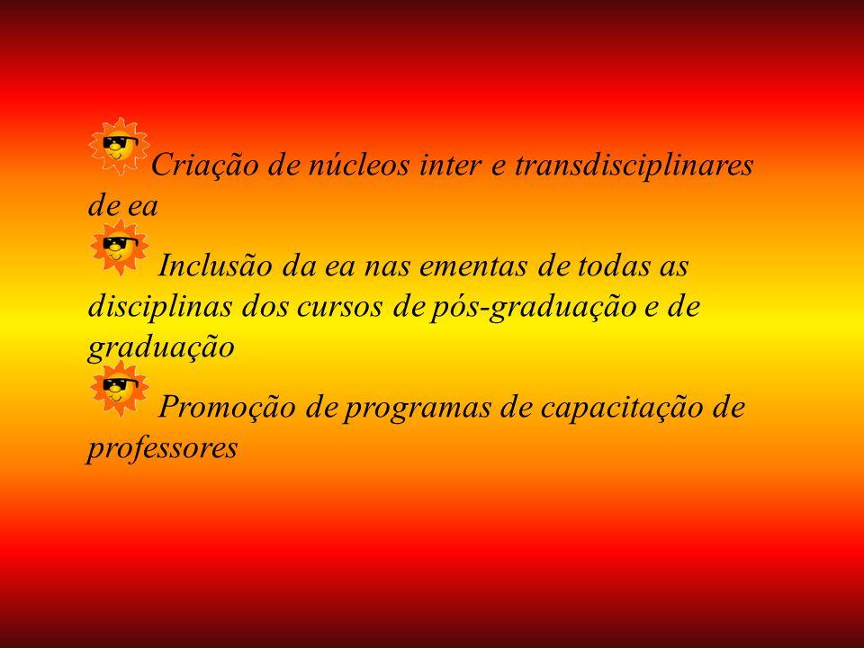 Criação de núcleos inter e transdisciplinares de ea Inclusão da ea nas ementas de todas as disciplinas dos cursos de pós-graduação e de graduação Promoção de programas de capacitação de professores