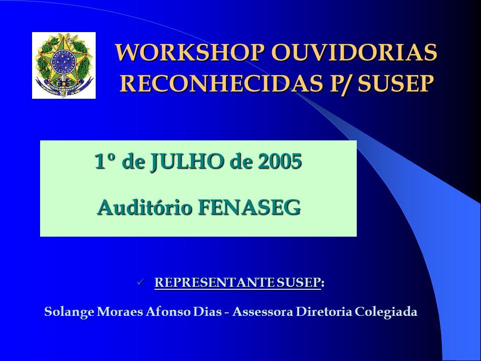 WORKSHOP OUVIDORIAS RECONHECIDAS P/ SUSEP 1º de JULHO de 2005 Auditório FENASEG REPRESENTANTE SUSEP REPRESENTANTE SUSEP: Solange Moraes Afonso Dias -