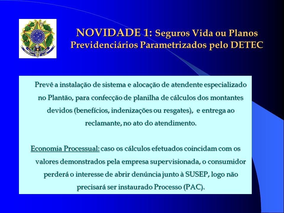 NOVIDADE 1: Seguros Vida ou Planos Previdenciários Parametrizados pelo DETEC Prevê a instalação de sistema e alocação de atendente especializado no Pl