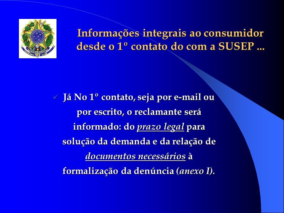 Informações integrais ao consumidor desde o 1º contato do com a SUSEP... Já No 1º contato, seja por e-mail ou por escrito, o reclamante será informado