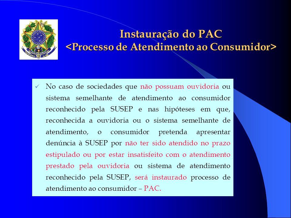 Instauração do PAC Instauração do PAC No caso de sociedades que não possuam ouvidoria ou sistema semelhante de atendimento ao consumidor reconhecido p