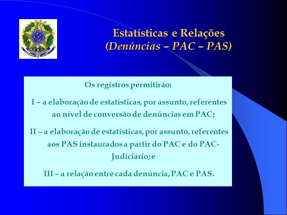 Estatísticas e Relações (Denúncias – PAC – PAS) Os registros permitirão: I – a elaboração de estatísticas, por assunto, referentes ao nível de convers