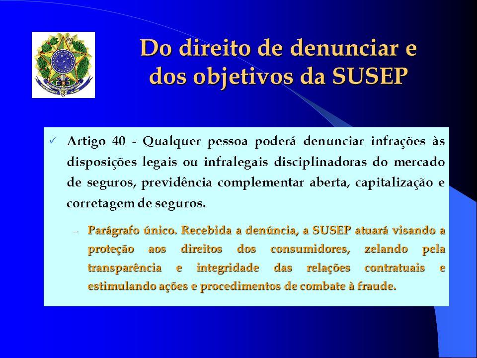 Do direito de denunciar e dos objetivos da SUSEP Artigo 40 - Qualquer pessoa poderá denunciar infrações às disposições legais ou infralegais disciplin
