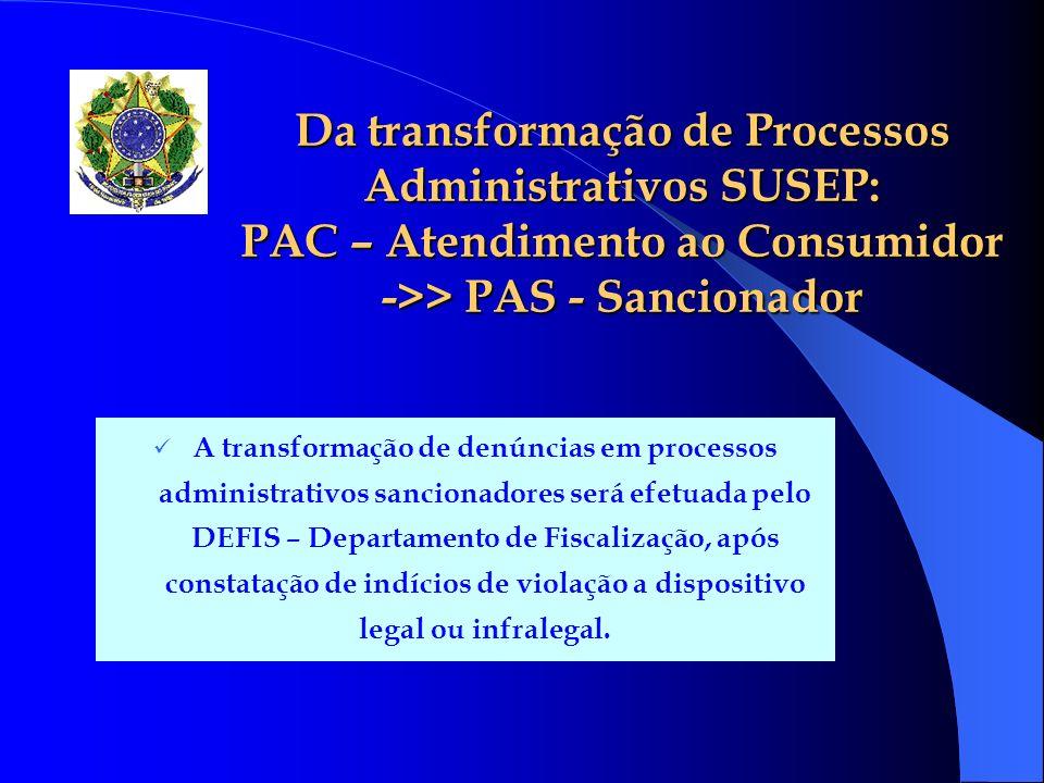 Da transformação de Processos Administrativos SUSEP: PAC – Atendimento ao Consumidor ->> PAS - Sancionador A transformação de denúncias em processos a