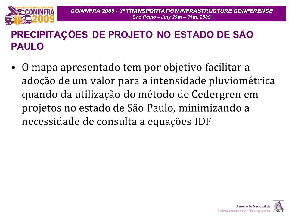 O mapa apresentado tem por objetivo facilitar a adoção de um valor para a intensidade pluviométrica quando da utilização do método de Cedergren em projetos no estado de São Paulo, minimizando a necessidade de consulta a equações IDF