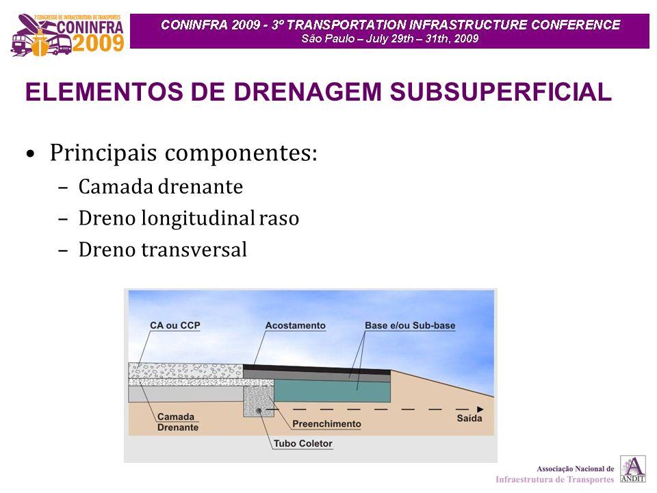 ELEMENTOS DE DRENAGEM SUBSUPERFICIAL Principais componentes: –Camada drenante –Dreno longitudinal raso –Dreno transversal