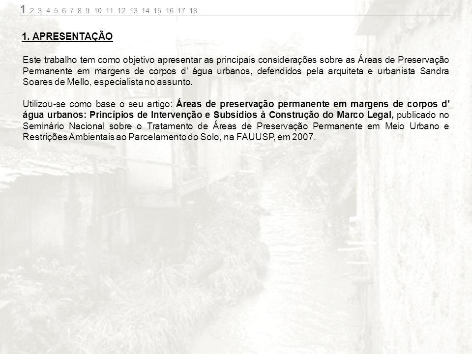 Este trabalho tem como objetivo apresentar as principais considerações sobre as Áreas de Preservação Permanente em margens de corpos d água urbanos, defendidos pela arquiteta e urbanista Sandra Soares de Mello, especialista no assunto.
