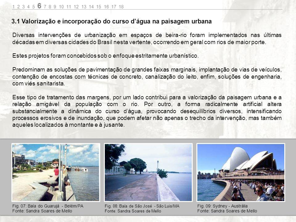 Diversas intervenções de urbanização em espaços de beira-rio foram implementados nas últimas décadas em diversas cidades do Brasil nesta vertente, ocorrendo em geral com rios de maior porte.