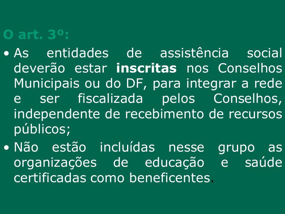 O art. 3º: As entidades de assistência social deverão estar inscritas nos Conselhos Municipais ou do DF, para integrar a rede e ser fiscalizada pelos