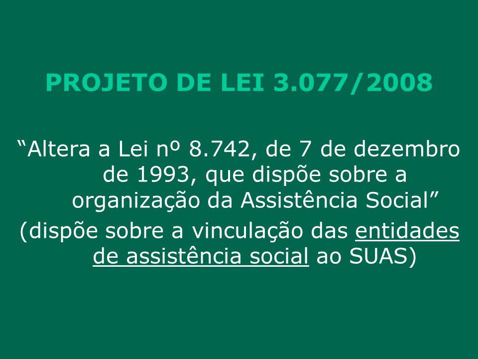 PROJETO DE LEI 3.077/2008 Altera a Lei nº 8.742, de 7 de dezembro de 1993, que dispõe sobre a organização da Assistência Social (dispõe sobre a vinculação das entidades de assistência social ao SUAS)