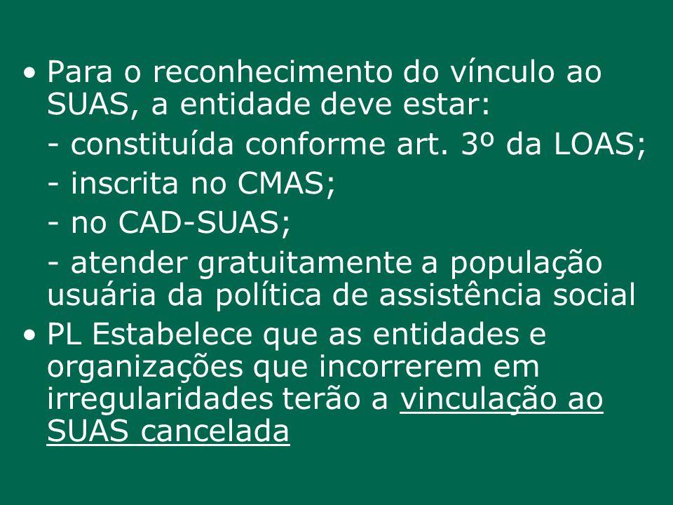 Para o reconhecimento do vínculo ao SUAS, a entidade deve estar: - constituída conforme art. 3º da LOAS; - inscrita no CMAS; - no CAD-SUAS; - atender