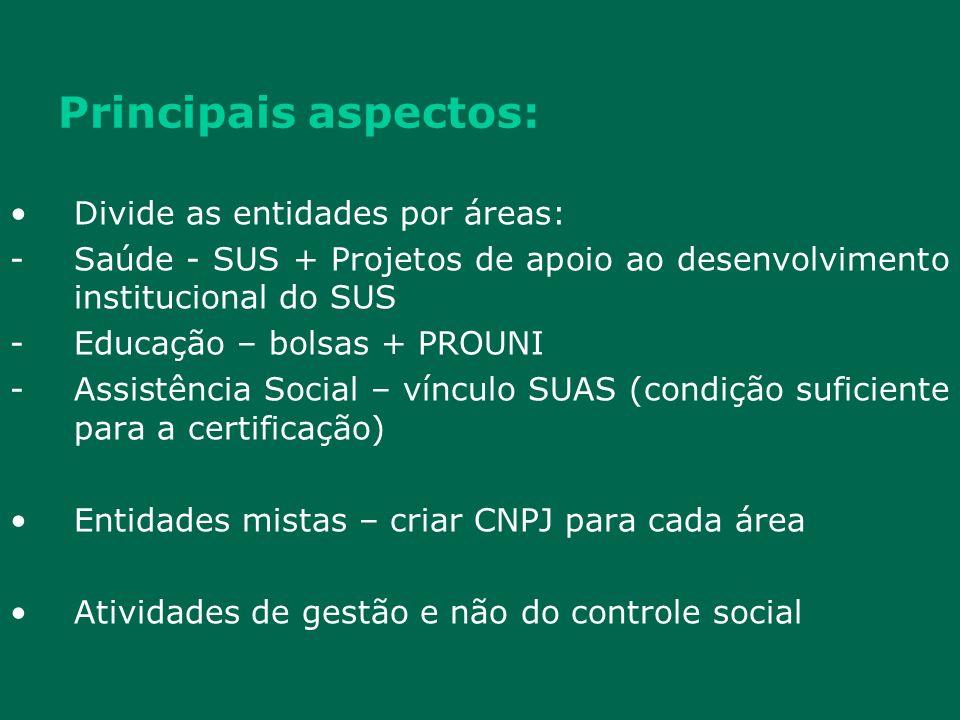 Principais aspectos: Divide as entidades por áreas: -Saúde - SUS + Projetos de apoio ao desenvolvimento institucional do SUS -Educação – bolsas + PROU