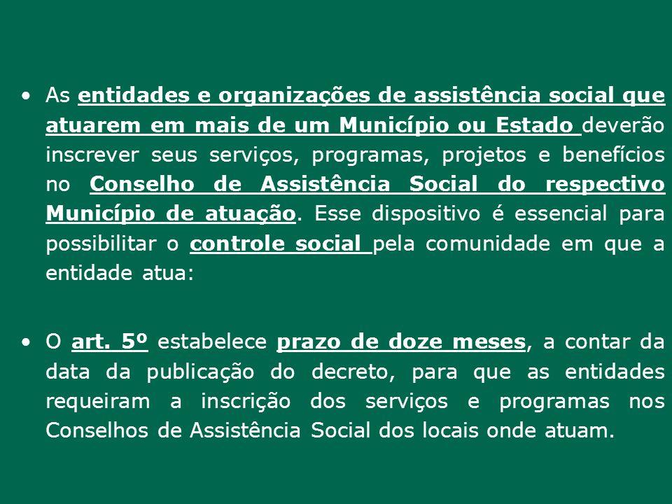 As entidades e organizações de assistência social que atuarem em mais de um Município ou Estado deverão inscrever seus serviços, programas, projetos e