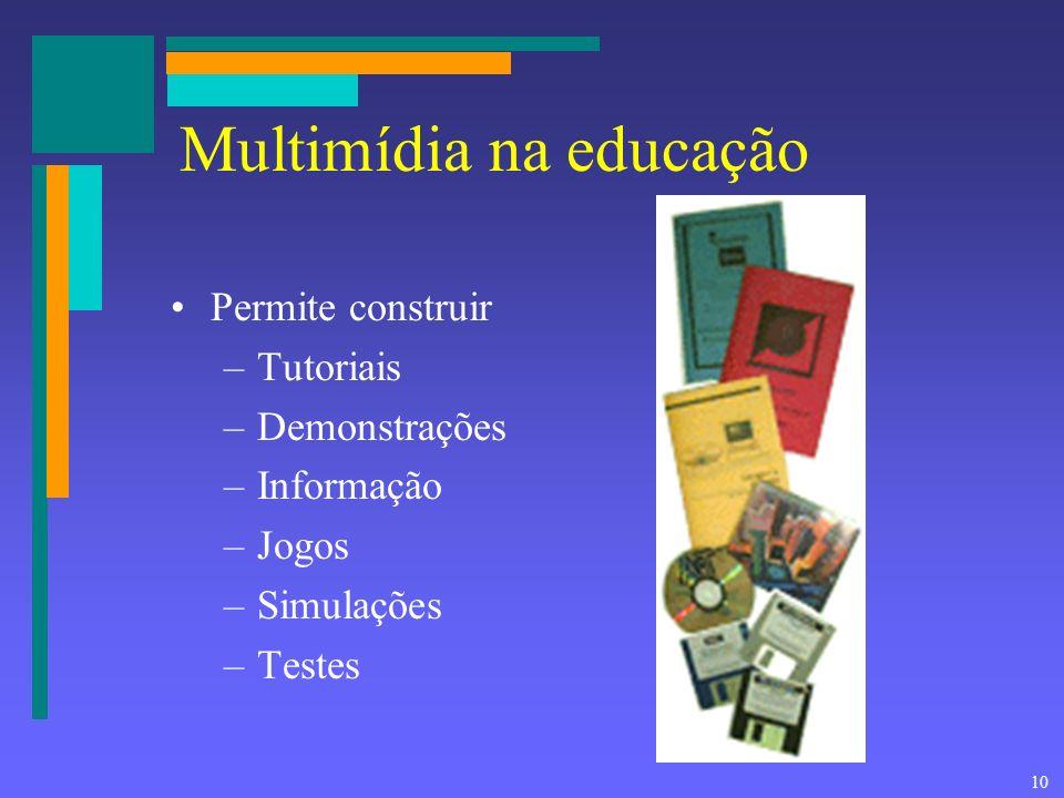 9 Popularidade da multimídia A multimídia é popular porque: –muitas pessoas usam recursos multimídia no trabalho, na escola, em casa –Como as pessoas