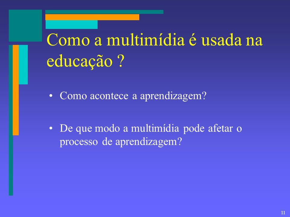 10 Multimídia na educação Permite construir –Tutoriais –Demonstrações –Informação –Jogos –Simulações –Testes