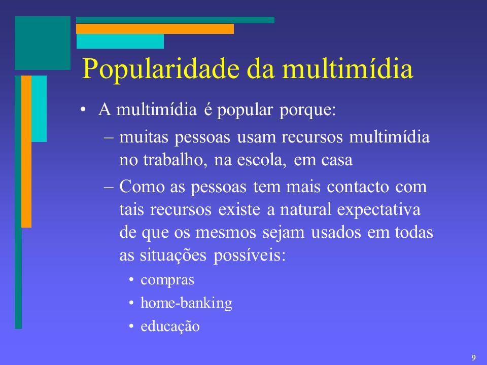 8 Multimídia Combinação de Texto Som Imagem Animação Vídeo para apresentar informação.