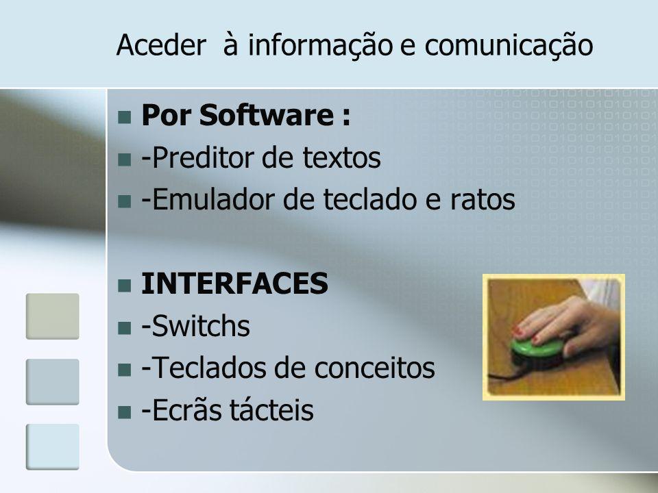 Hardware Adaptadores para acesso Localização do aparelho Teclados de conceitos Emuladores de teclado Comutadores (Switch) Periféricos Ecrã Impressora Terminal de voz Software Programas segundo a finalidade Sistemas de comunicação Aprendizagem escolar Valorização das capacidades psicológicas ou motoras Actividades de jogo ou lazer Actividades profissionais Hardware / Software