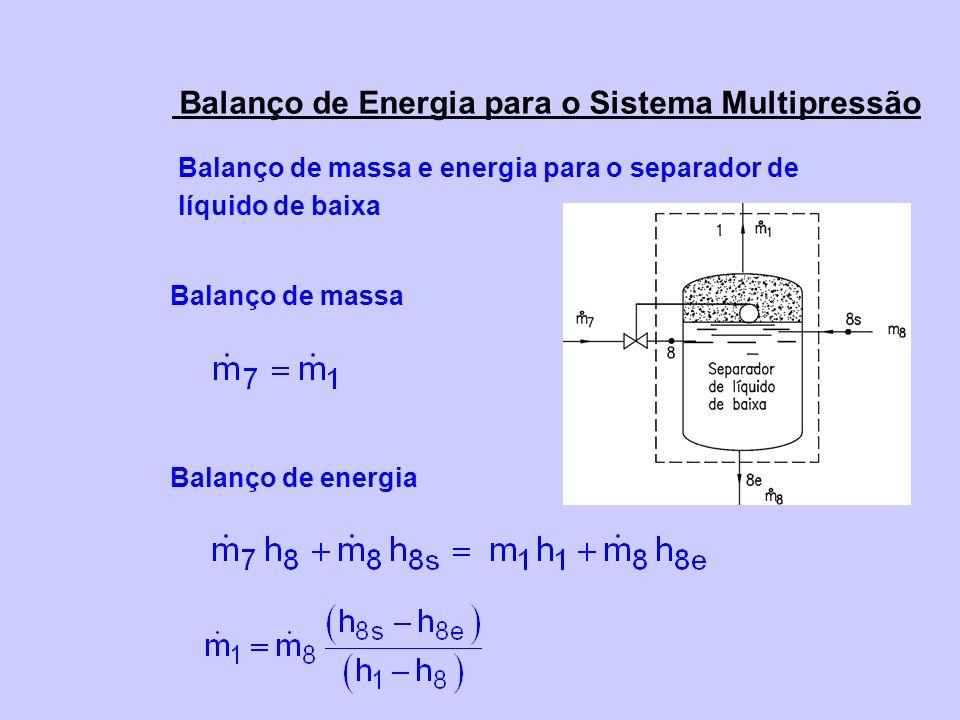 Balanço de Energia para o Sistema Multipressão Balanço de massa e energia para o separador de líquido de baixa Balanço de massa Balanço de energia