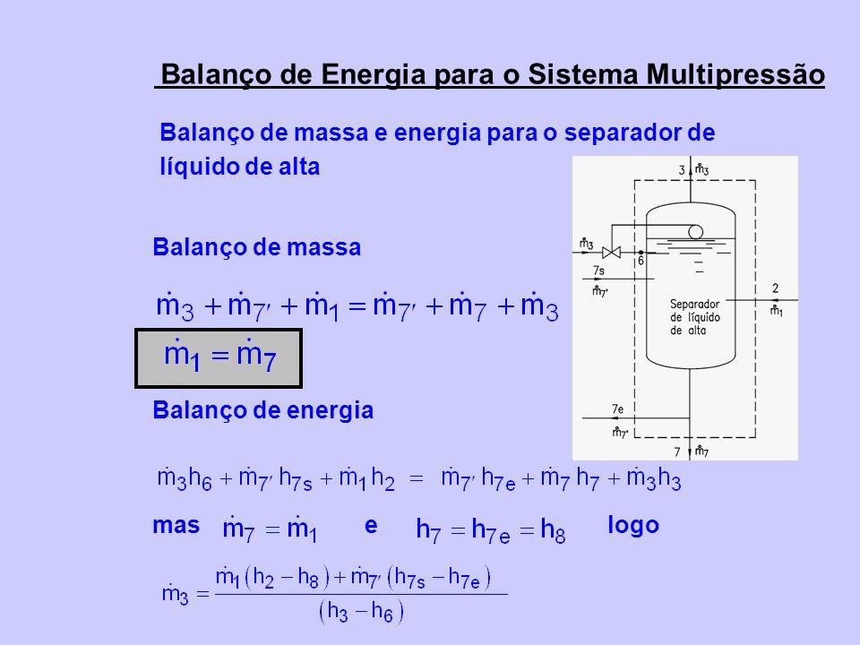 Balanço de Energia para o Sistema Multipressão Balanço de massa e energia para o separador de líquido de alta Balanço de massa Balanço de energia mas e logo