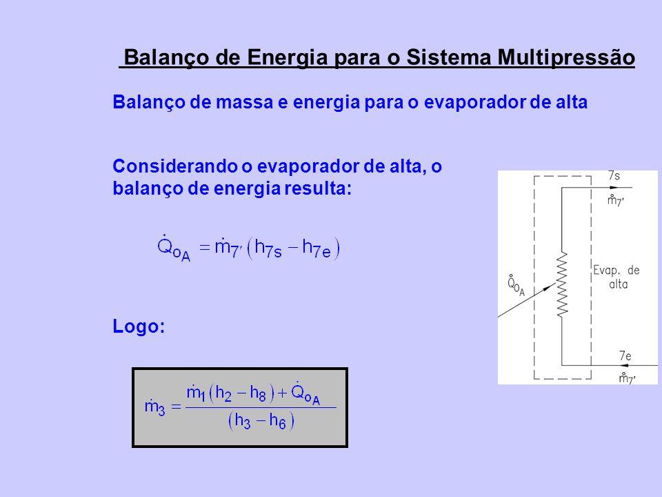 Balanço de Energia para o Sistema Multipressão Balanço de massa e energia para o evaporador de alta Considerando o evaporador de alta, o balanço de energia resulta: Logo: