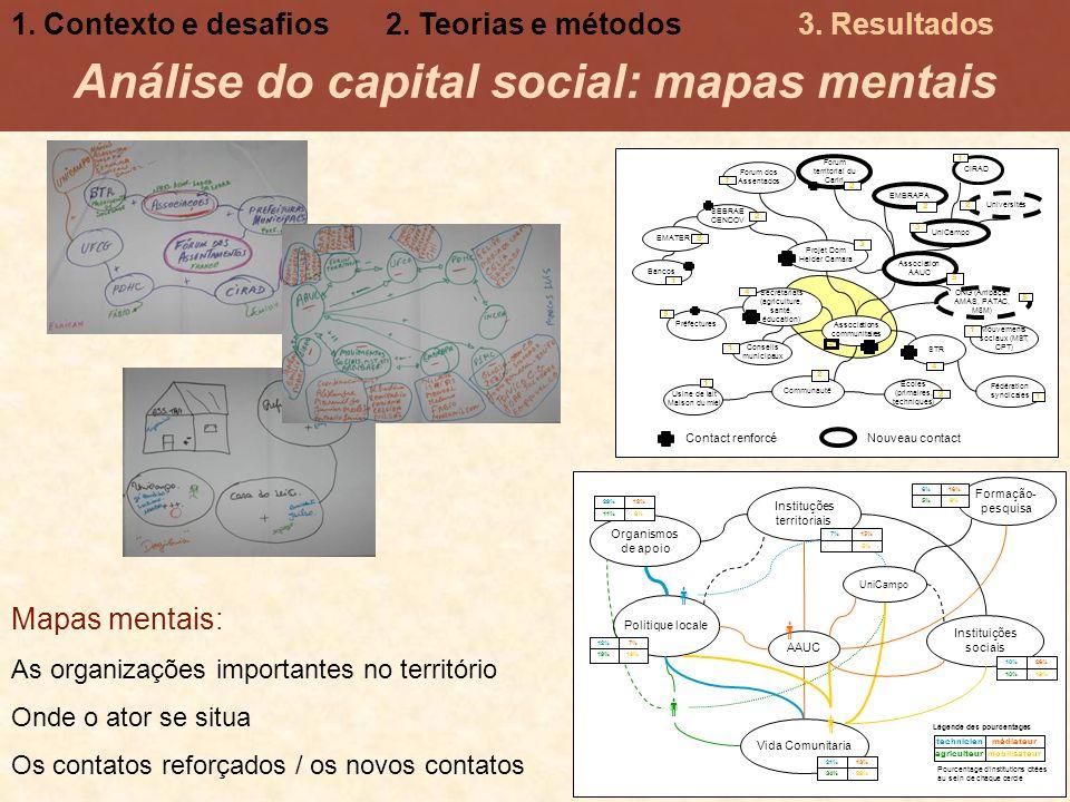 Análise do capital social: mapas mentais Mapas mentais: As organizações importantes no território Onde o ator se situa Os contatos reforçados / os nov