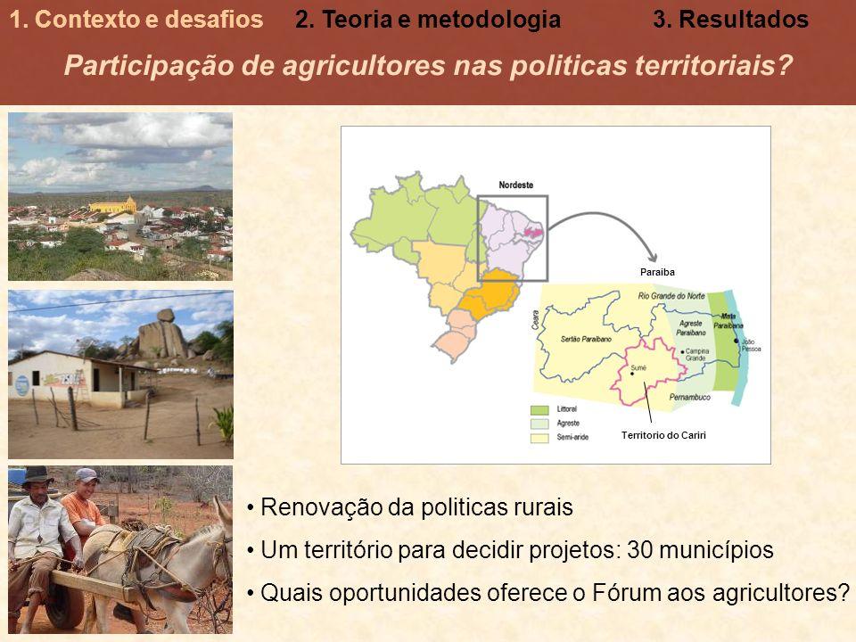 Participação de agricultores nas politicas territoriais? Renovação da politicas rurais Um território para decidir projetos: 30 municípios Quais oportu